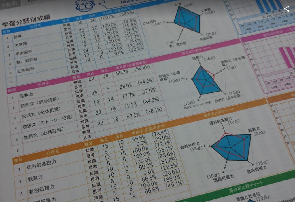 全国統一小学生テスト結果の画像